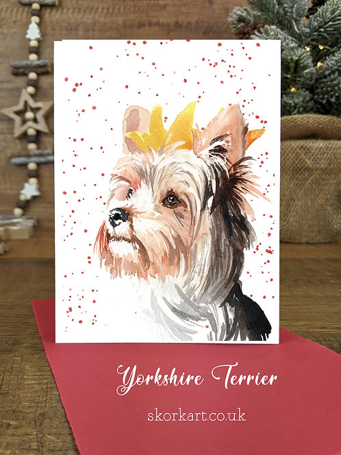 Christmas Card Yorkshire Terrier Watercolour, A6