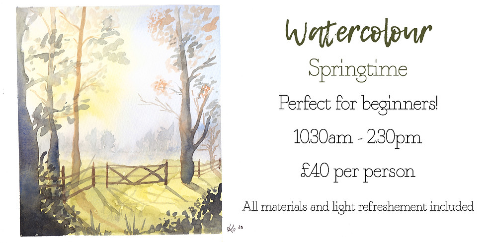 Learn to paint a Springtime landscape in watercolour