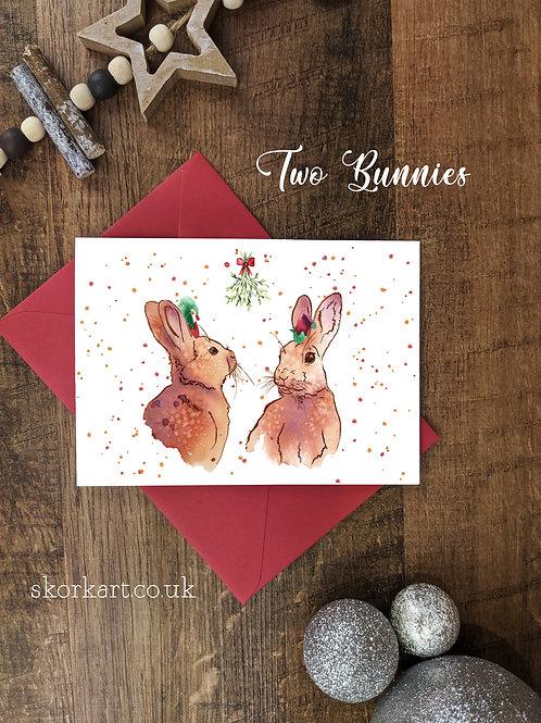Christmas Card Two Bunnies Watercolour, A6