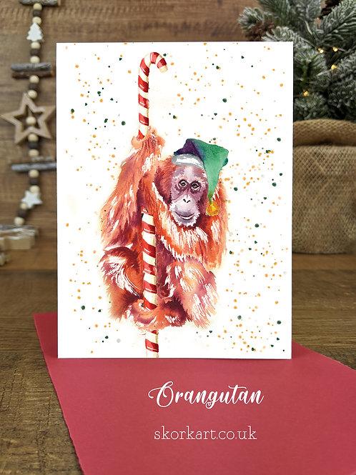 Christmas Card Orangutan Watercolour, A6