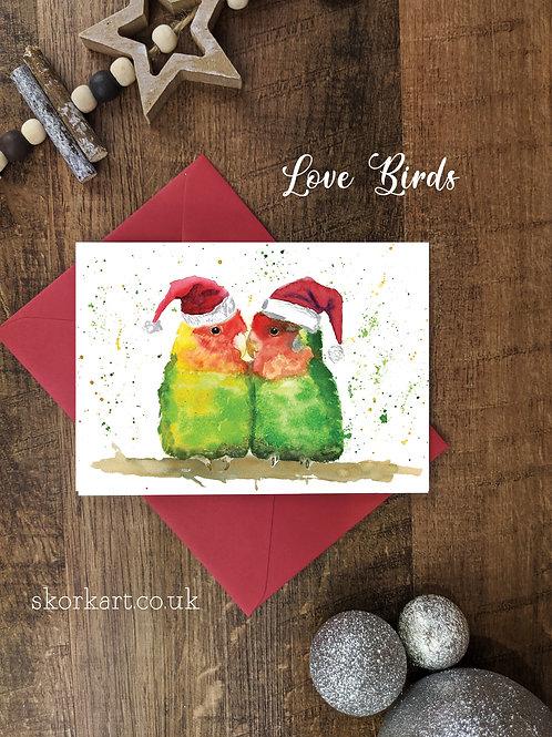 Christmas Card Love Birds Watercolour, A6