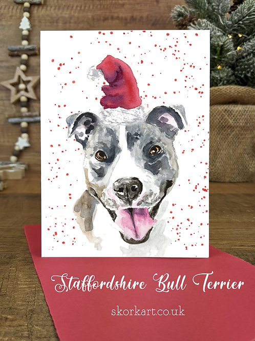 Christmas Card Staffy Blue and White Watercolour, A6