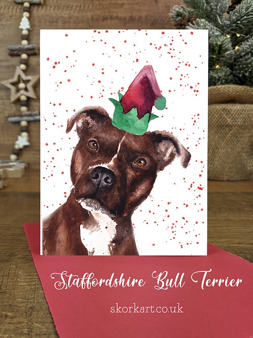 Christmas Card Staffy Brindle Watercolour, A6