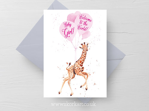 Welcome to the World Baby Girl Card, Giraffe and balloons #202025