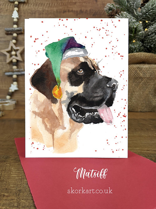Christmas Card Mastiff Watercolour, A6