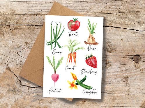 Veggies A6 greetings Card