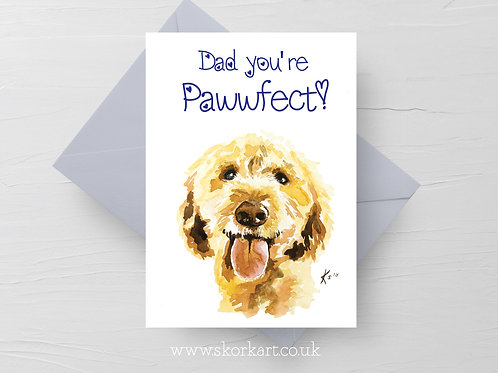 Dad you're Pawfect! Cockapoo Fathers Day Card #202021