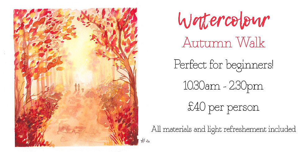Learn to paint an Autumn walk landscape in watercolour