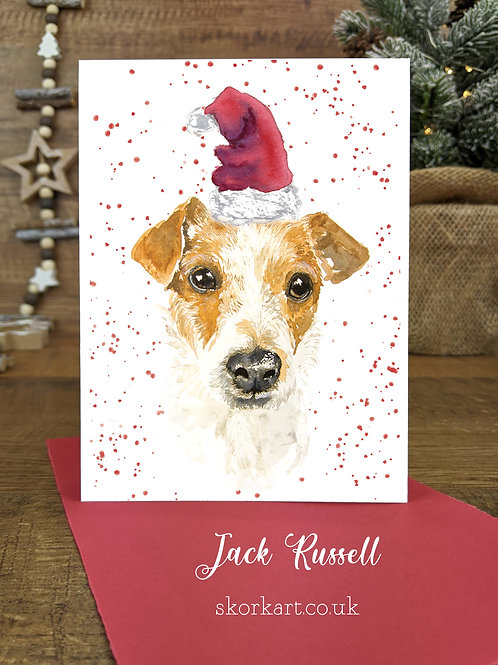 Christmas Card Jack Russell Watercolour, A6