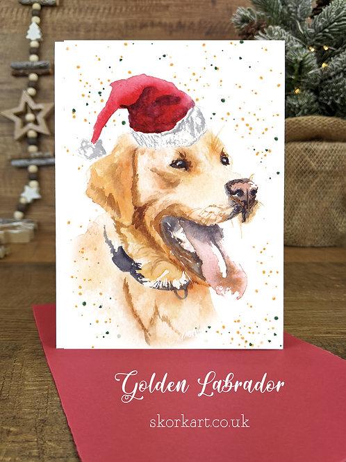 Christmas Card Labrador Golden Watercolour, A6