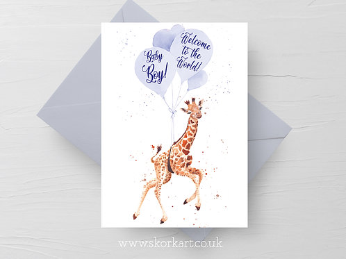 Welcome to the World Baby Boy Card, Giraffe and balloons #202024