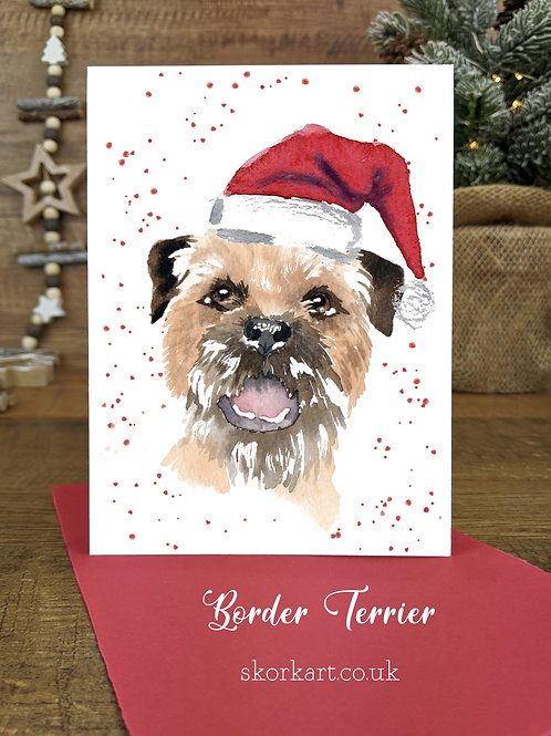 Christmas Card Border Terrier Watercolour, A6