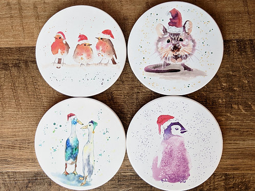 Ceramic Coaster set of 4 Christmas 2020