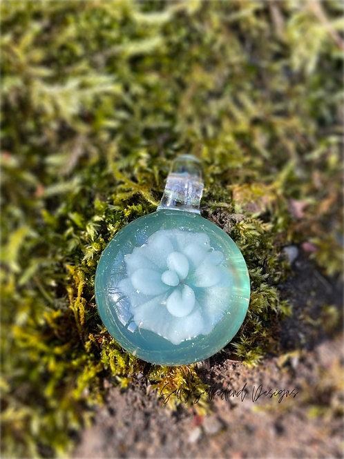 Blue Flower Borosilicate Pendant