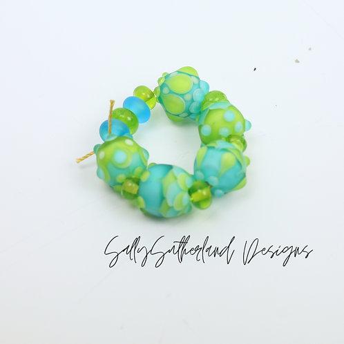 Lime Zest Etched Bead Set