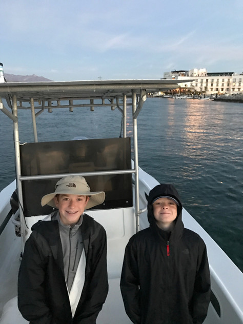 6:30 am and off to go deep sea fishing! All smiles here