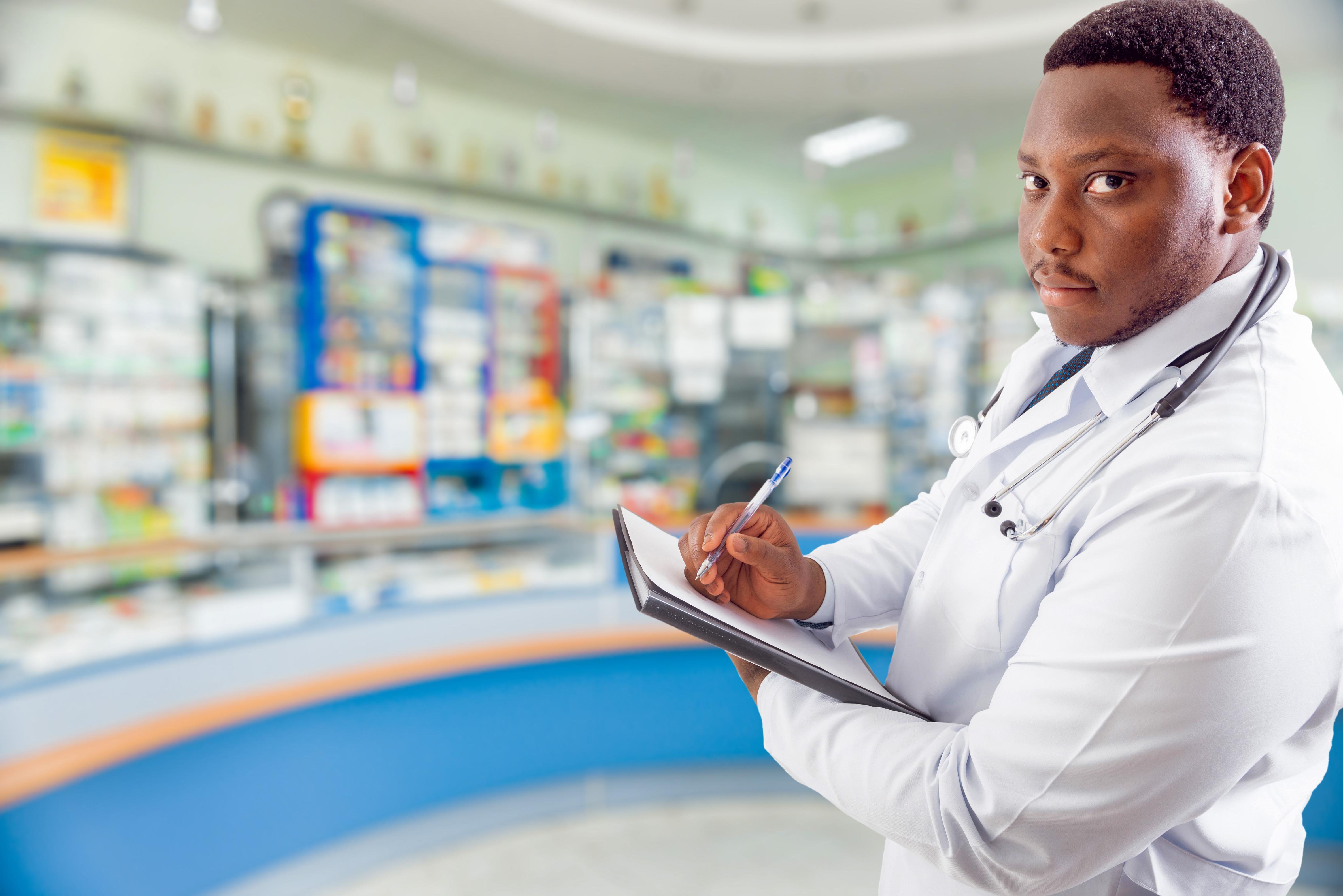 Black pharmacist at pharmacy