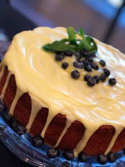 Lemon Pound Cake w/Lemon Curd & Blueberries
