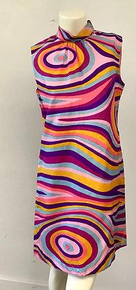 Psychedelic 1960's Stripe Swirl Dress ( as is )