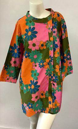 1960's Polished Cotton Floral Mini A-Line Dress Great Colors !