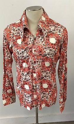 Pieters Thing 1970's Orange Sunburst Rayon Disco Screen Print Shirt