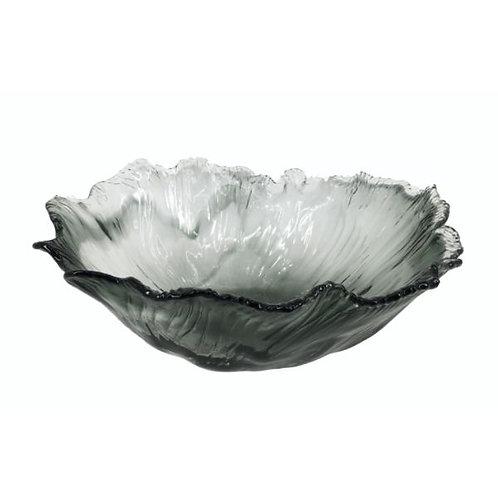 Skleněný talíř šedý