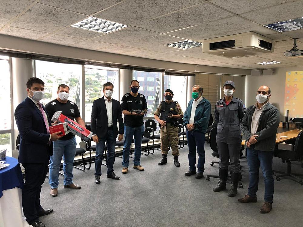 Foto: Dr. João Marcos, Dr. Flávio Destro, Maurício Nazaré, Dr. Leonardo Pio, Major Alexsandro César, Dr. Afonso Henrique, Soldado Luciana e Rogério Diniz