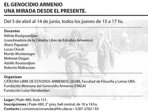 """Curso """"El Genocidio Armenio, una mirada desde el presente"""", en la Facultad de Filosofía y"""