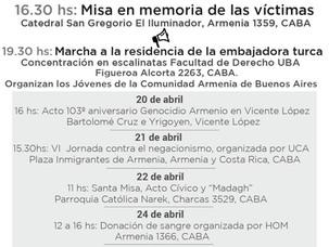 PROGRAMA DE ACTIVIDADES POR EL 103º ANIVERSARIO DEL GENOCIDIO ARMENIO EN BUENOS AIRES