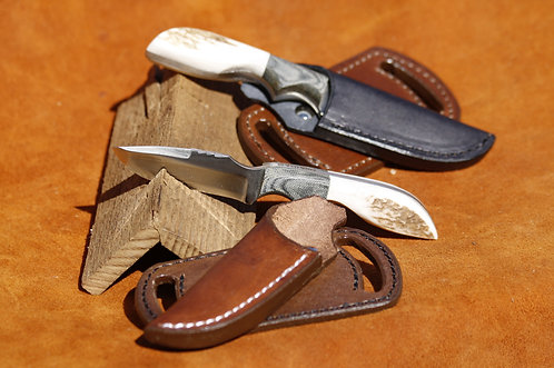 "ANZA Elk Stag Handle with Micarta Bolster 3"" blade with custom leather sheath"
