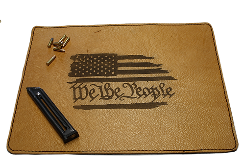 "Leather pistol mat ""We the people"" laser engraved"
