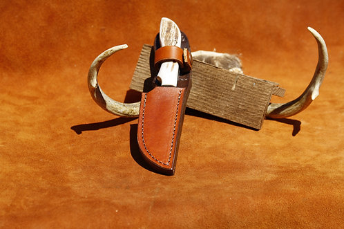 "ANZA Full Elk Stag 4"" blade file knife with custom leather sheath set"