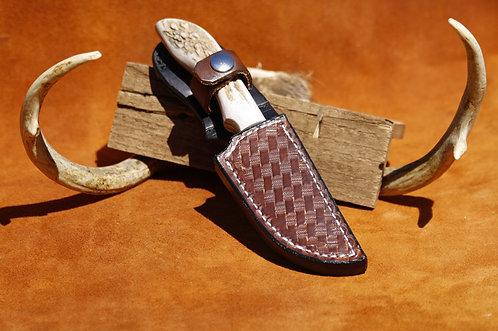 "ANZA Full Elk Stag 4"" blade file knife with custom leather sheath set"