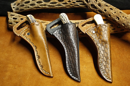 Moore Maker hunter knife & cross draw leather sheath set