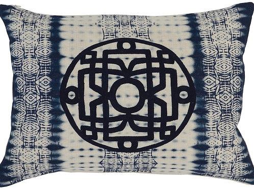 Embroidered Blue Batik Pillow 12 x 16