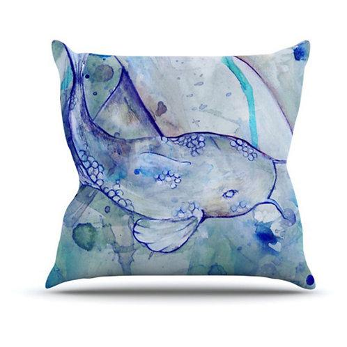 Watercolor Koi Outdoor Pillow