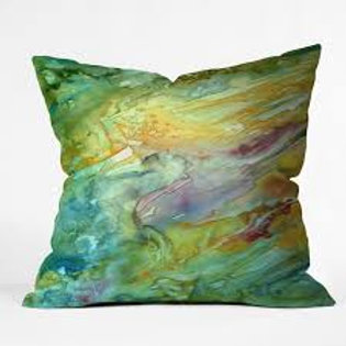 Sweeping Sea Watercolor Outdoor Pillow