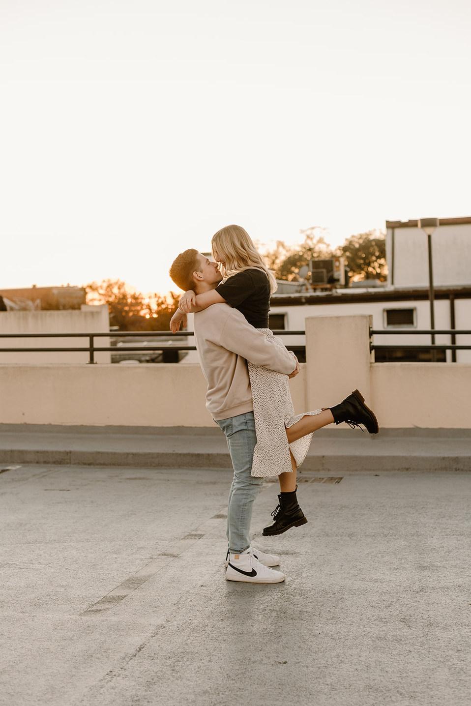 Lakeland Rooftop Engagement Photoshoot