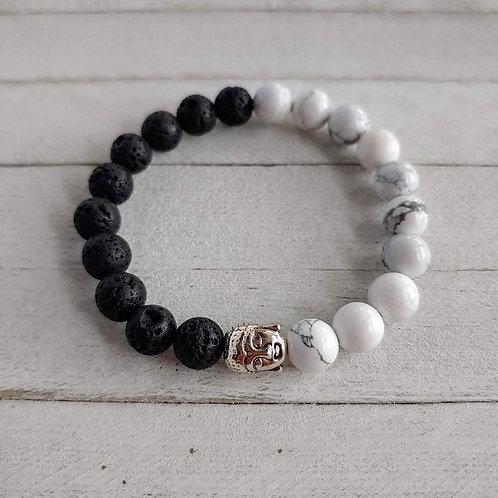 Howlite & Lava Stone Diffuser Balance Bracelet