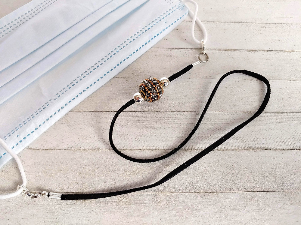 Fashionable Face Mask Lanyard made with a Kashmiri Bead With Gold Metal Core And Hematite.