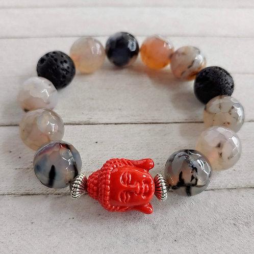 Dragon Veins Agate Self Confidence Aromatherapy Buddha Bracelet
