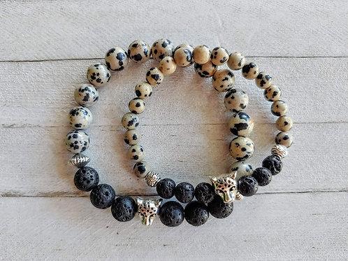 Dalmatian & Lava Stone Matching Bracelet Set