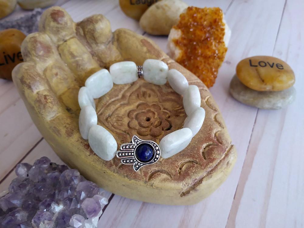Amazonite Hamsa Hand Bracelet. Evil Eye Bracelet.