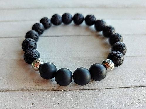 Lava Stone and Black Onyx Diffuser Bracelet
