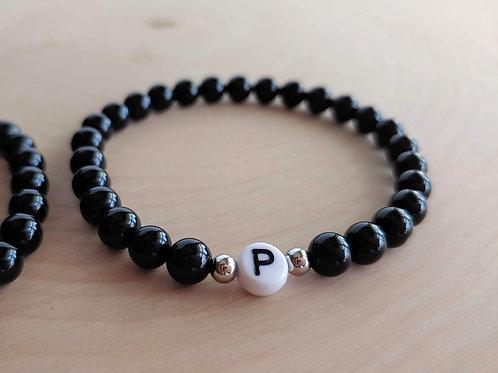 Black Agate Initial Bracelet