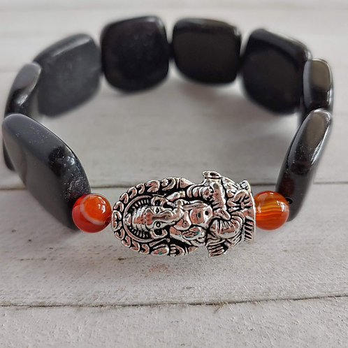 "Black Stone Ganesha ""Remover of Obstacles"" Bracelet"