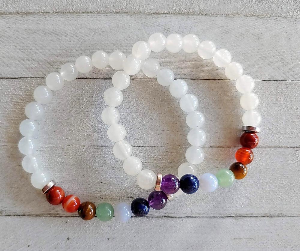 7 Chakras Snow Quartz Bracelet Set