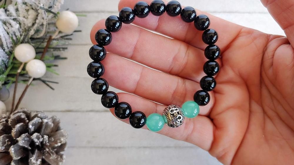 Onyx Grief Relief Om Bracelet