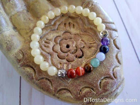 7 Chakras Yellow Calcite Healing Bracelet