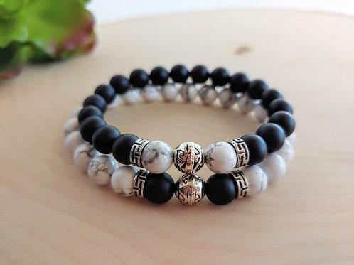 Onyx & Howlite Couple Bracelets Set